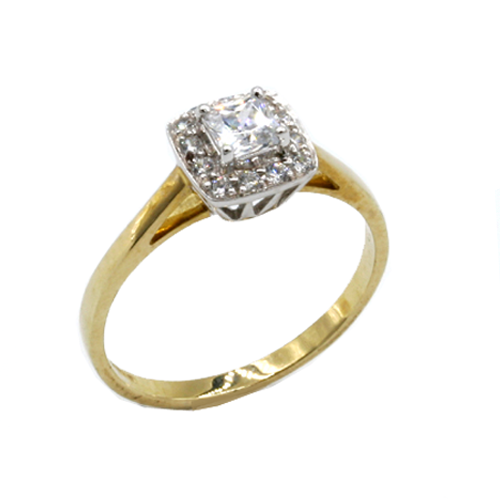 Nine carat gold square Halo ring set with cubic zirconia