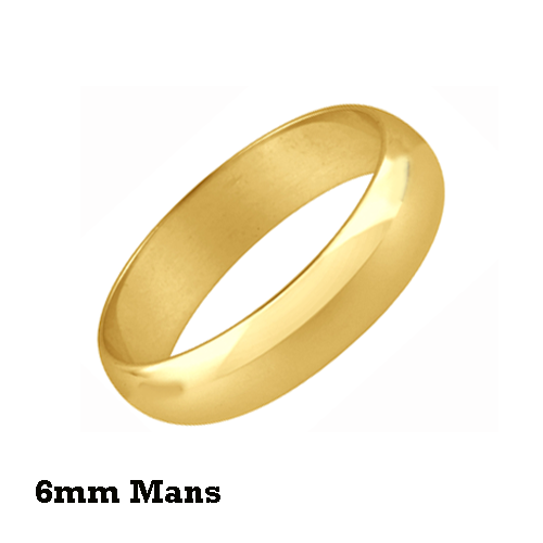 6mm Mans 9 ct Yellow Wedding ring