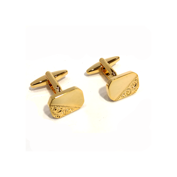 Rectangle Cut Corners Engraved Design gold plated cufflinks