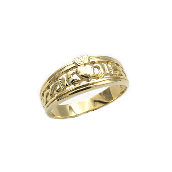 Nine Carat Yellow Gold Celtic Claddagh Ring