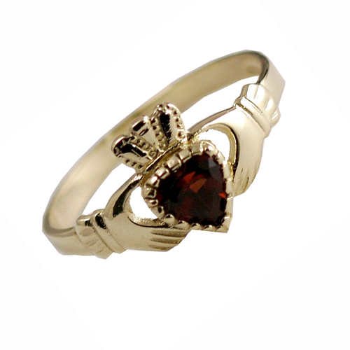 Claddagh birthstone ring with Garnet stone for January