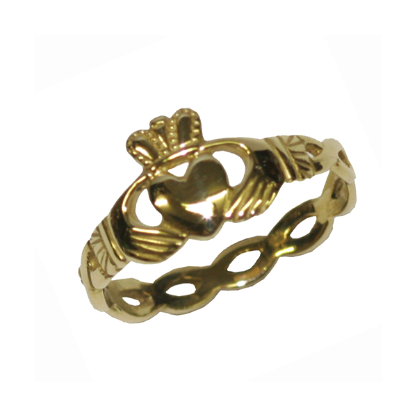 9 carat gold Claddagh ring with Celtic band