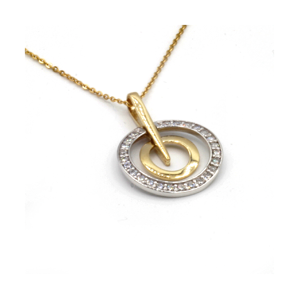 Nine carat yellow gold double circle pendant with cubic zirconia