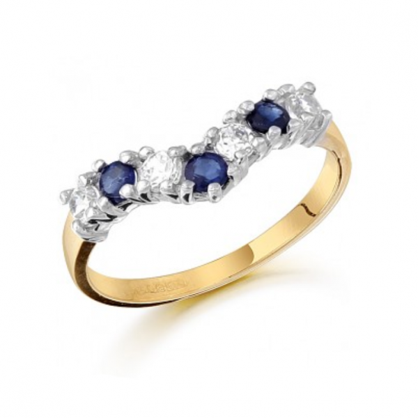 Nine carat gold Wishbone ring set with cubic stones and synthetic blue sapphires