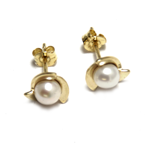 Nine carat yellow gold pearl studs