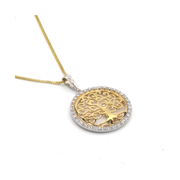 "Nine carat yellow gold ""Tree of Life"" pendant"