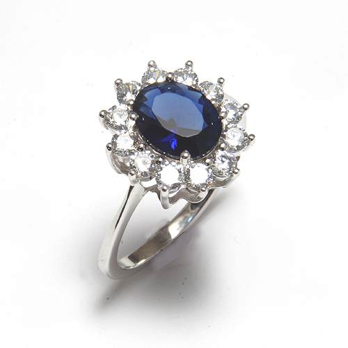 Yo Jewels Oval cluster ring Blue Stone