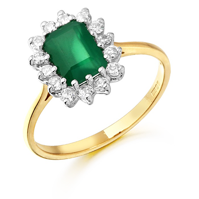 A yellow gold ring with a rectangle emerald stone with a cluster of CZ stones