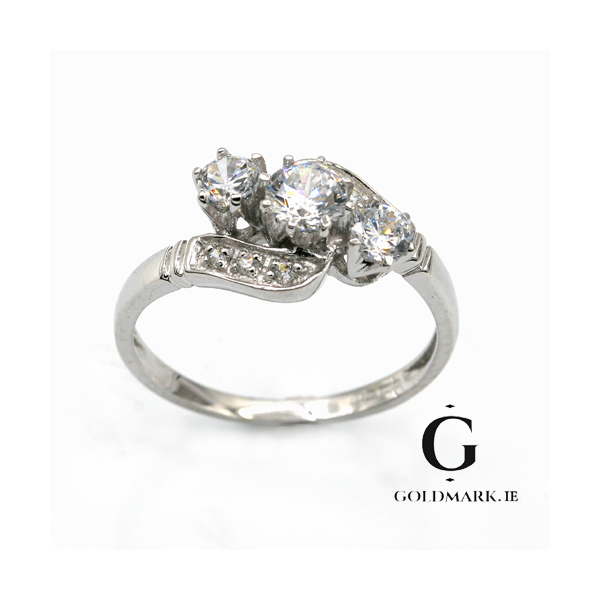 Nine carat white gold 3 stone crossover ring