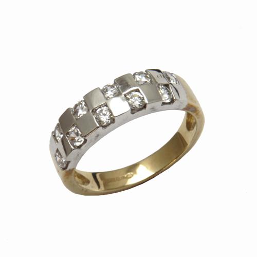 Nine carat yellow gold multi cubic zirconia dress ring