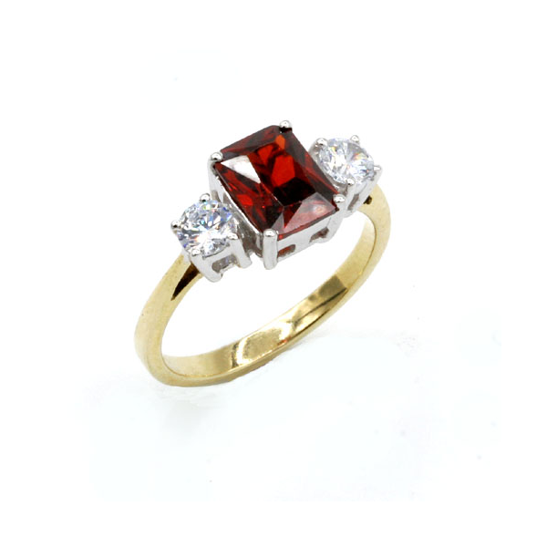 Nine carat gold Red stone rings set with cubic zirconia