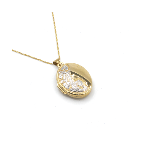 Nine carat yellow gold oval locket and chain
