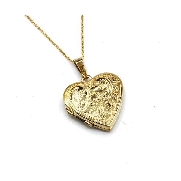 Nine carat yellow gold heart locket and chain