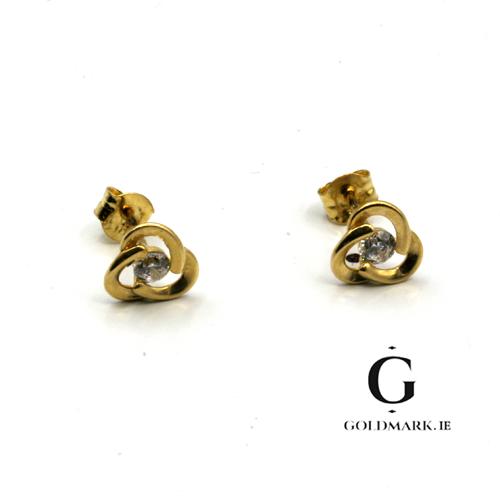 Nine carat tri circle gold cubic zirconia earrings