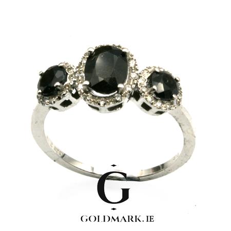 Nine carat Sapphire and diamond trilogy ring