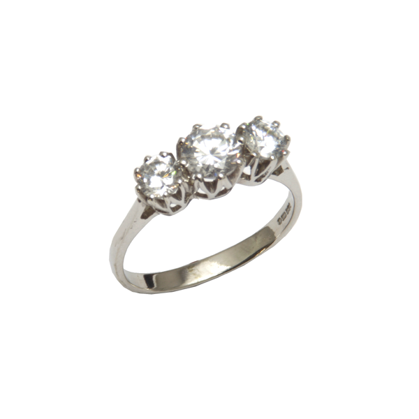 Three stone  Nine carat white gold ring