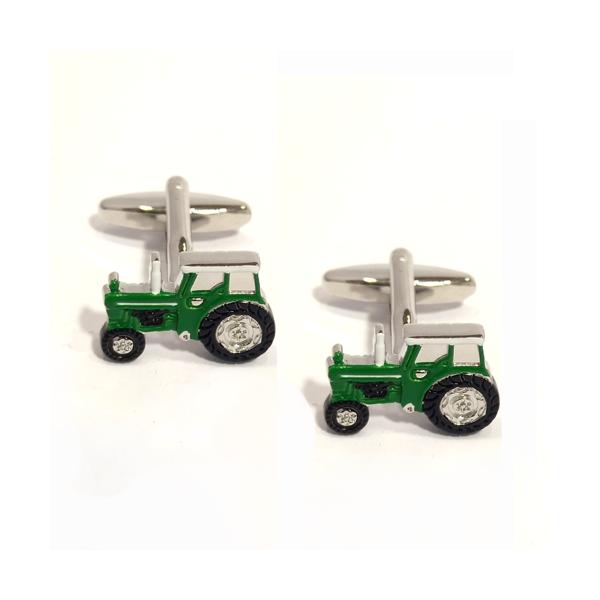 Green Tractor Rhodium Plated Cufflinks
