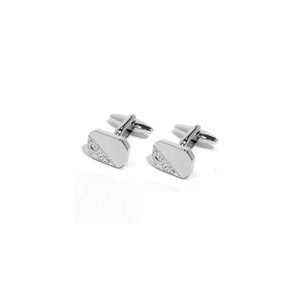 Rectangle Cut Corners Engraved Design Rhodium Plate Cufflinks