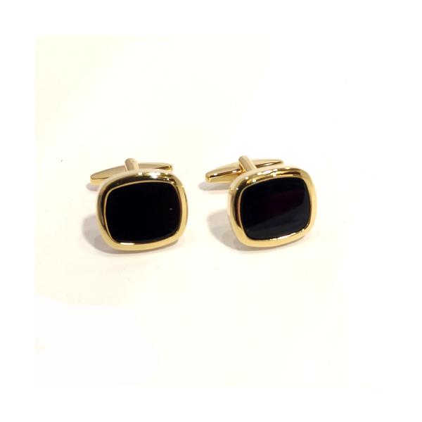 Gold plated Black Onyx cufflinks