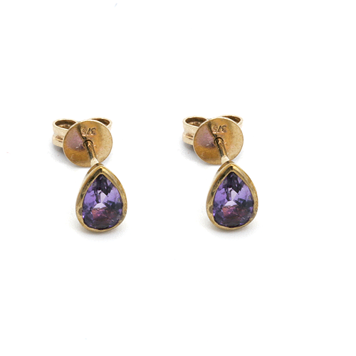 Nine carat yellow gold Amethyst earrings