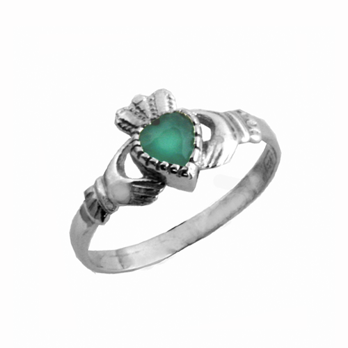 Green stone  Claddagh birthstone ring  (Green for May)