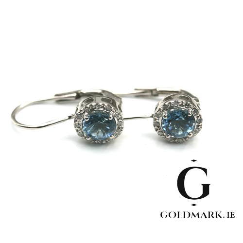 Blue Topaz and Diamond white gold drop earrings