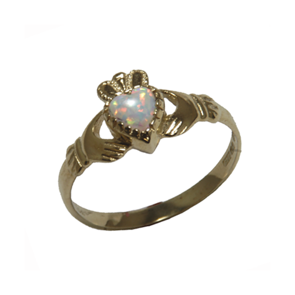 Claddagh birthstone ring with Opal stone for October