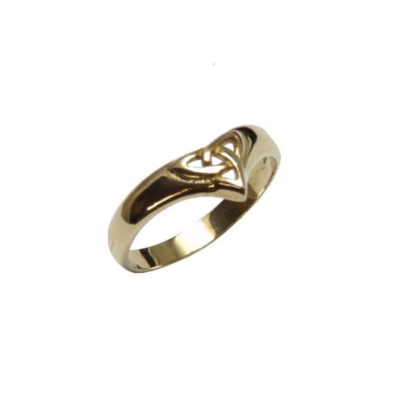 Ladies nine carat yellow gold Trinity knot wish bone ring