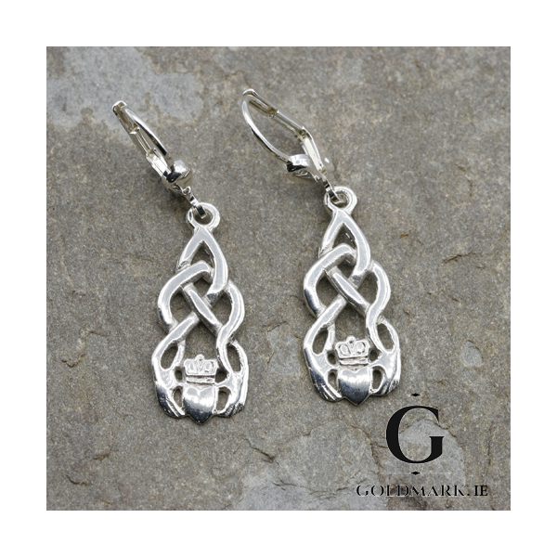 Sterling silver Claddagh Celtic drop earrings