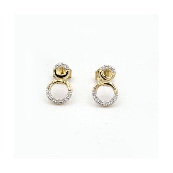 Nine carat yellow gold Circle Diamond Earrings