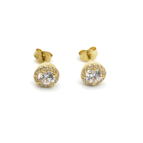 Nine carat yellow gold Halo cluster earrings