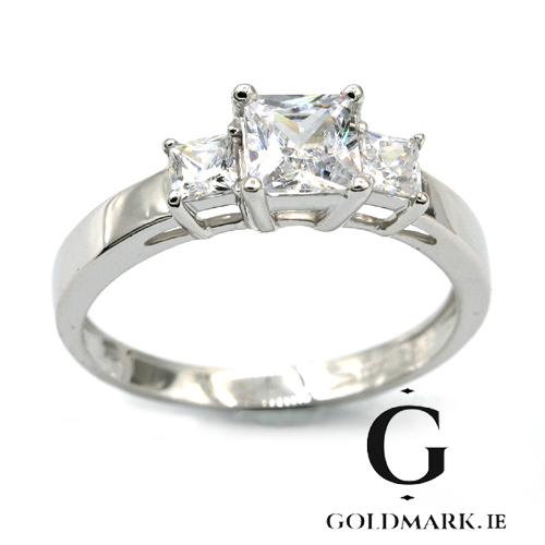 Princess cut cubic  zirconia ring in nine carat white gold