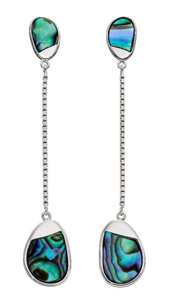 Silver Abelone Pebble drop earrings