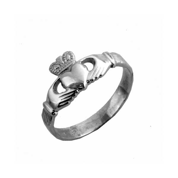 Traditional Silver Ladies Claddagh Ring with puffed heart