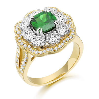 Nine Carat Gold Cushion Cut Emerald Ring surrounded by CZ