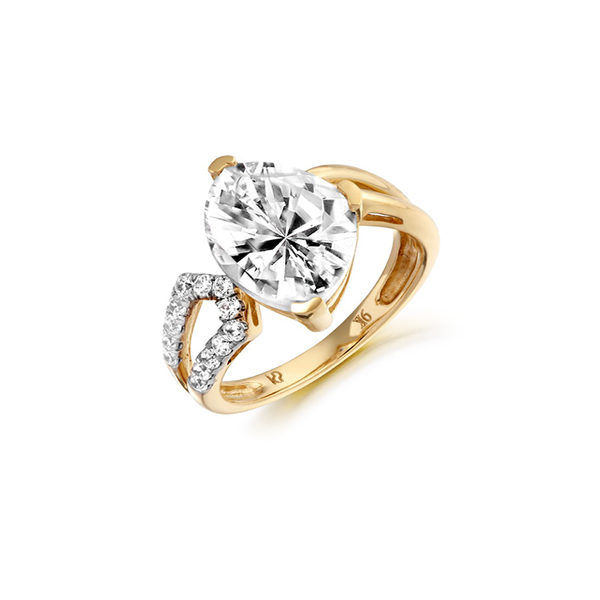 Nine Carat Yellow Gold Congruent CZ Ring