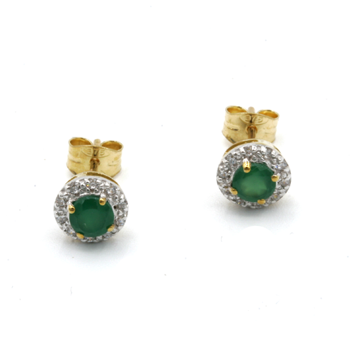 Nine carat yellow gold Green cluster earrings