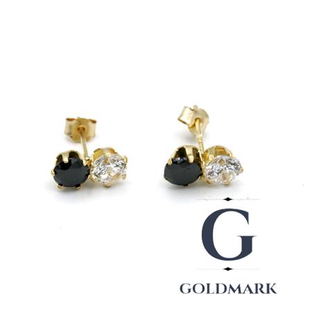 Nine carat gold black and white cz earrings