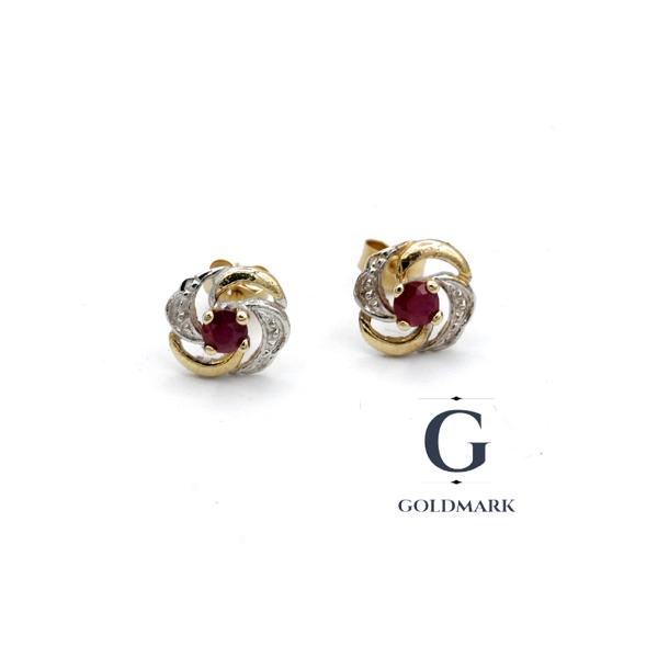 Nine carat gold Ruby Earrings