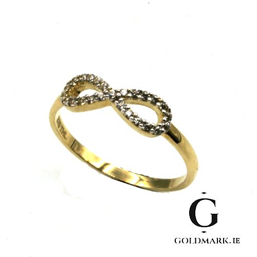 Nine carat yellow gold Infinity ring