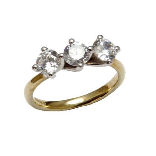 Nine carat yellow gold Trilogy Cubic ring