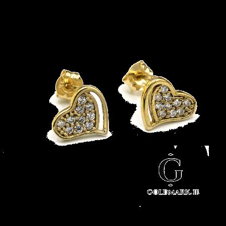 Nine carat heart cz earrings