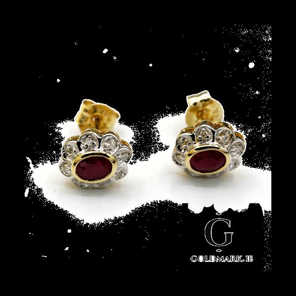 Nine carat ruby and diamond earrings