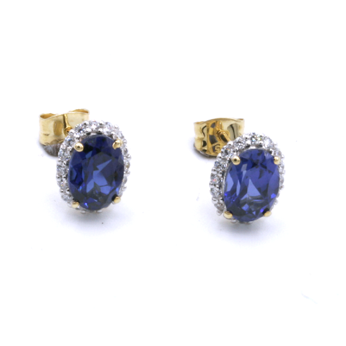 Nine carat yellow gold Sapphire cluster earrings