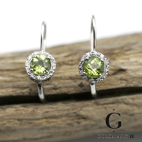 Peridot and Diamond white gold drop earrings