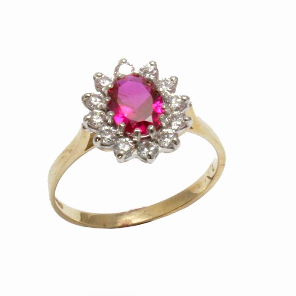 Nine carat gold Ruby Cluster ring
