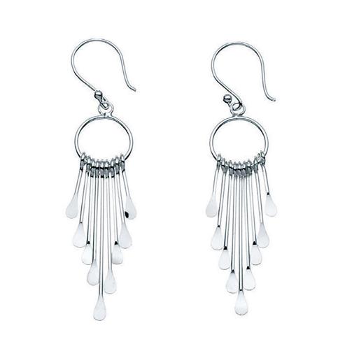 Multi-stick Drop Silver Earrings