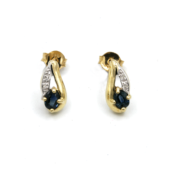 Nine carat yellow gold sapphire and diamonds earrings