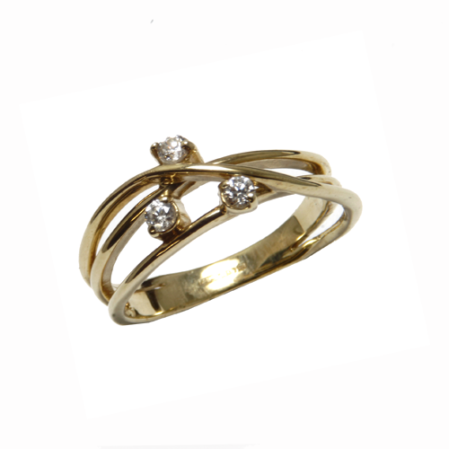 Nine carat  yellow gold wire ring with cubic zirconia stones