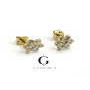 Cluster flower shaped earrings in gold